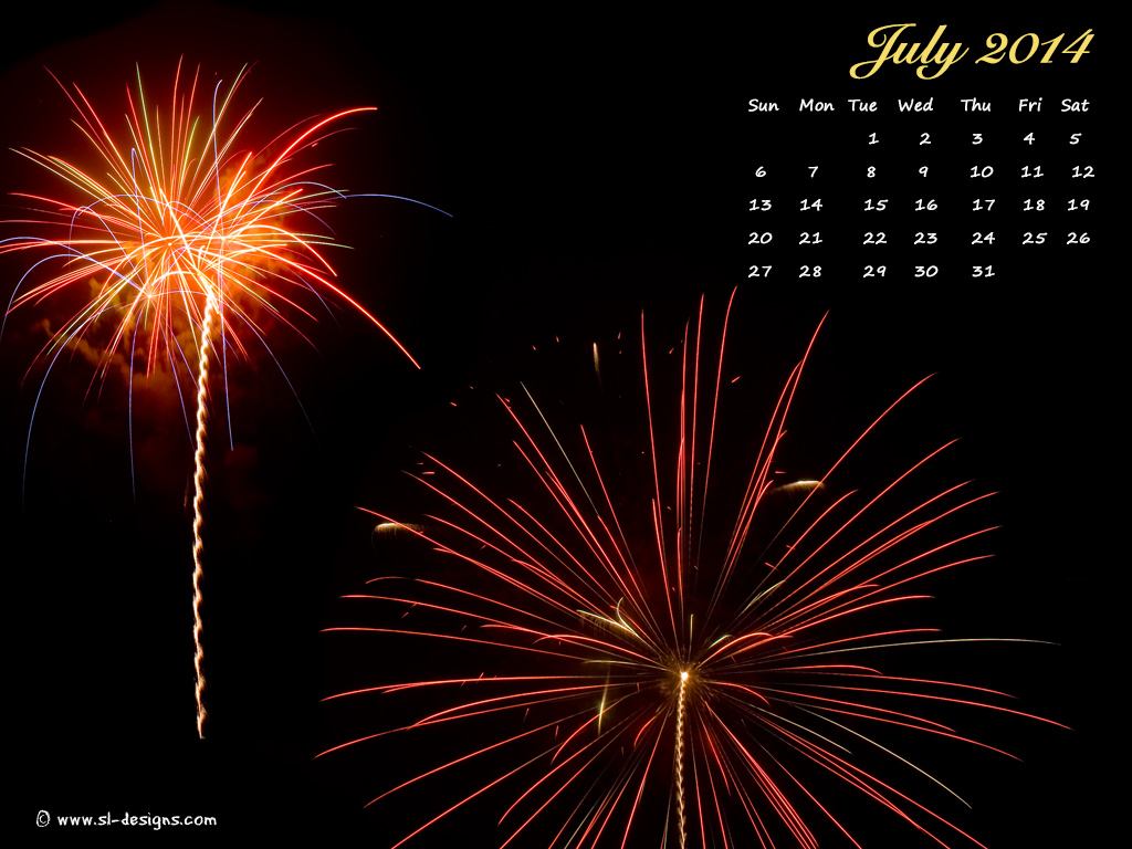 Calendar Wallpaper July : July calender fireworks desktop wallpaper