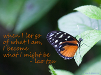 """When I let go of what I am, I become what I might be."" - Lao Tzu"