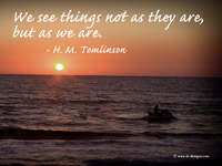We see things not as they are, but as we are.