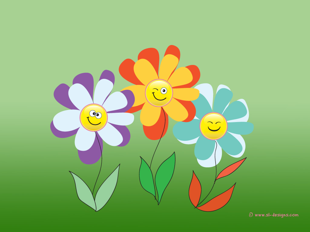 Smiley flowers on green background- desktop wallpaper