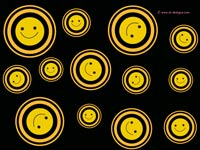Smiley faces on black
